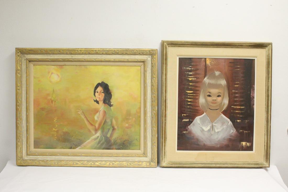 "2 oil paintings ""portrait of girl"""