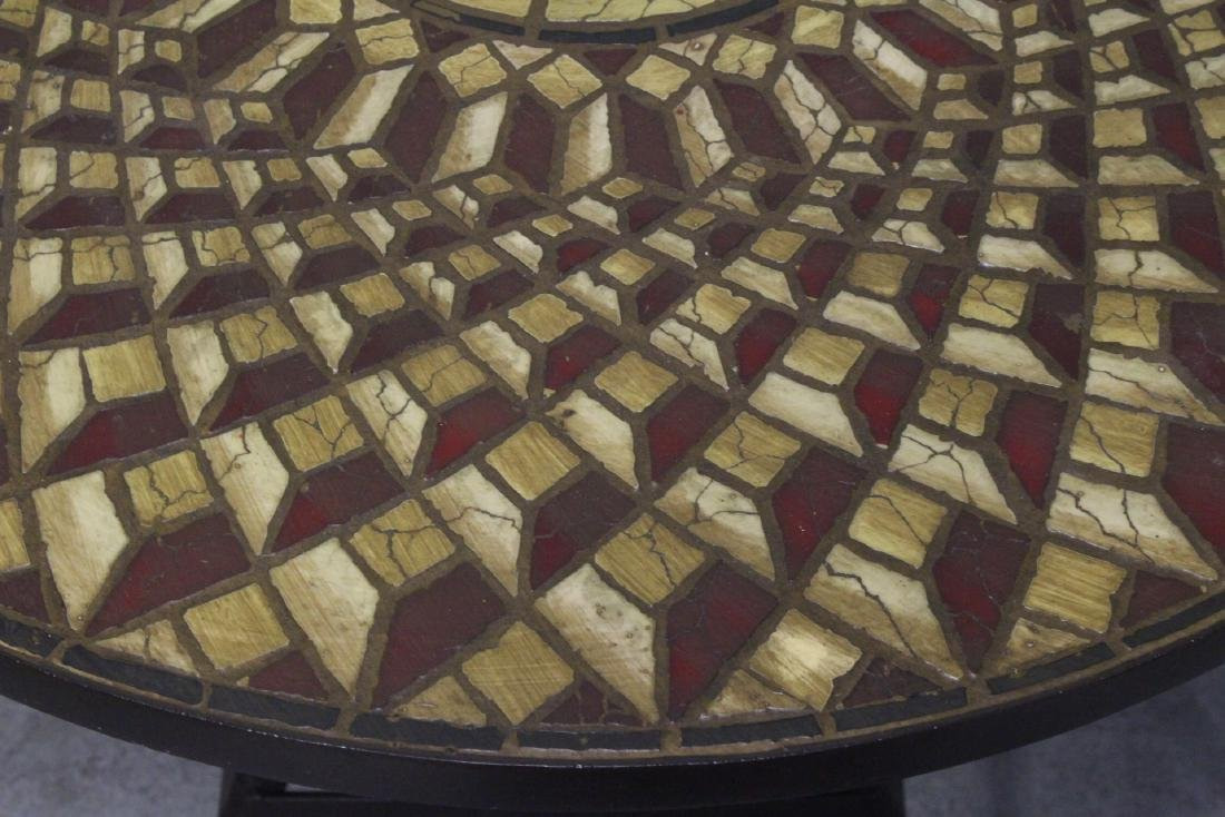 A table with cast iron base and beautiful tile top - 5
