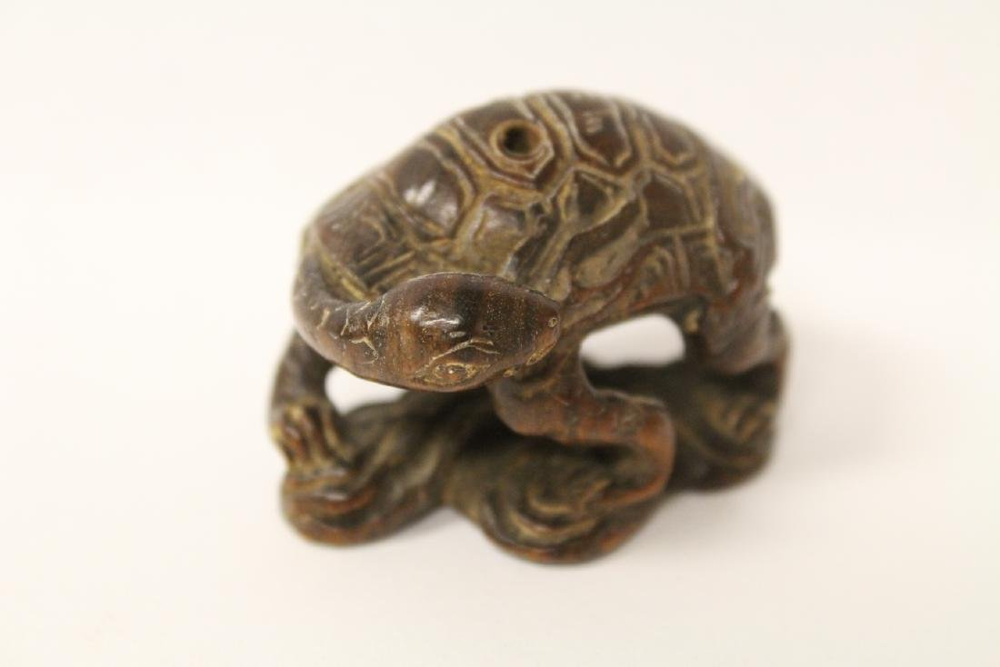 Japanese wood carved netsuke, signed - 10