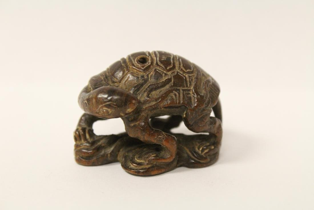 Japanese wood carved netsuke, signed