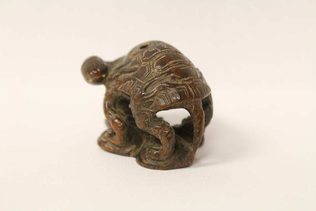 Japanese wood carved netsuke, signed - 2