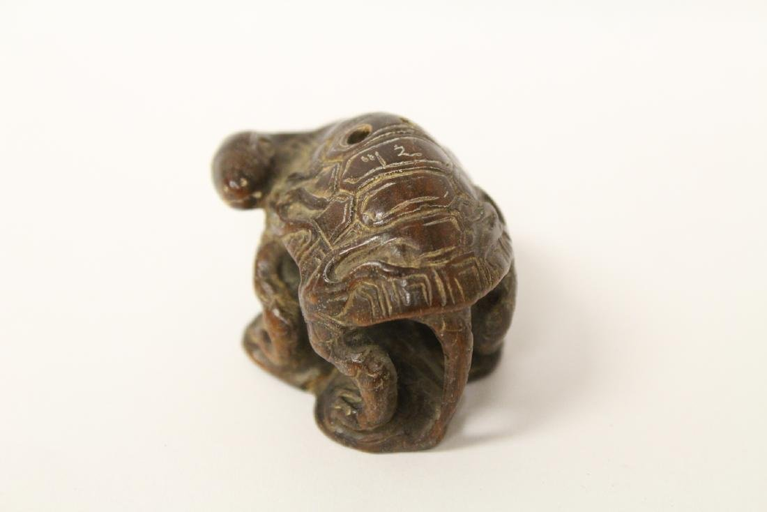 Japanese wood carved netsuke, signed - 8