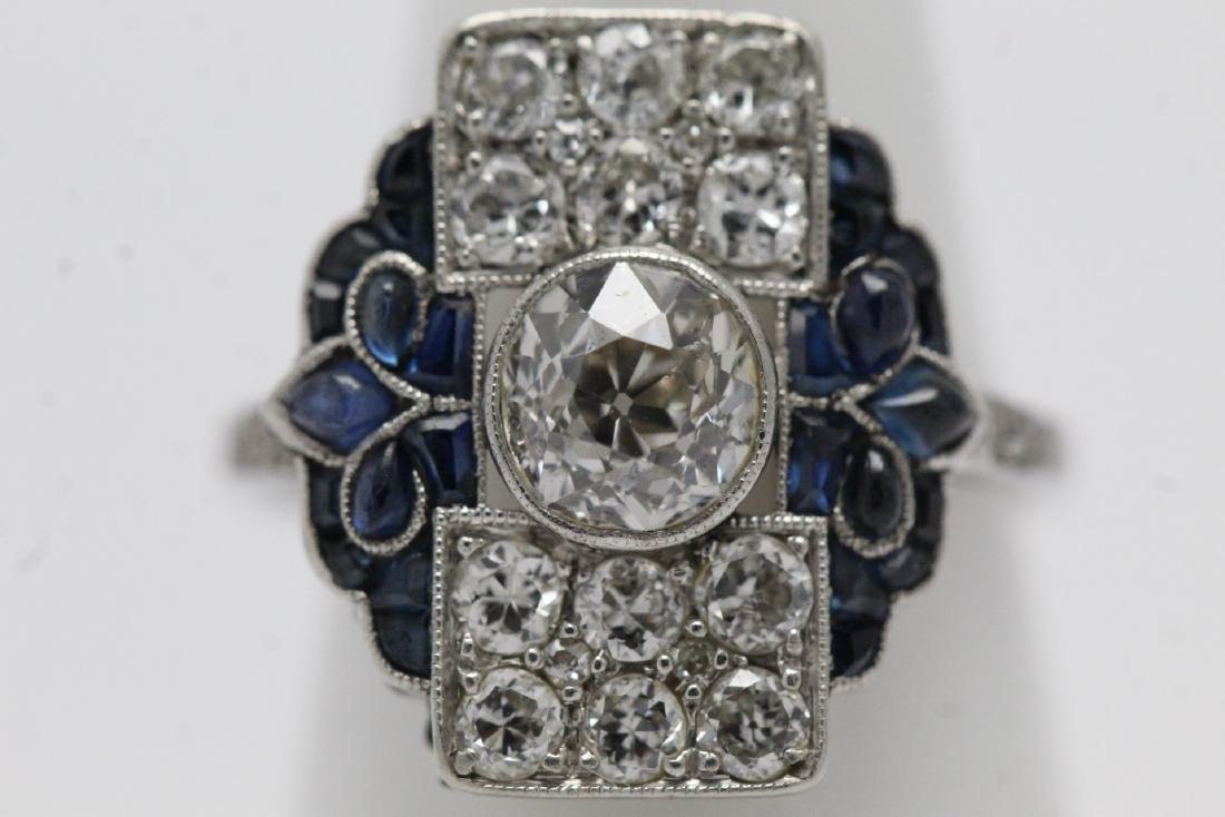 platinum art deco diamond ring - 2