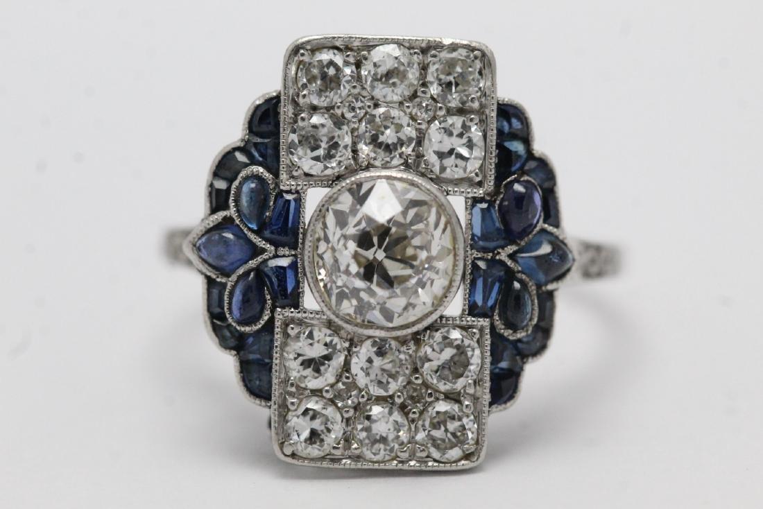 platinum art deco diamond ring - 6