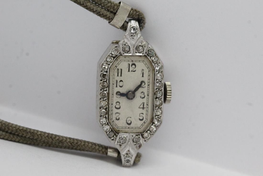 lady's art deco platinum diamond wrist watch
