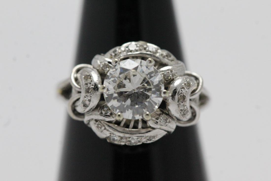 14K W/G art deco diamond ring, with GIA report