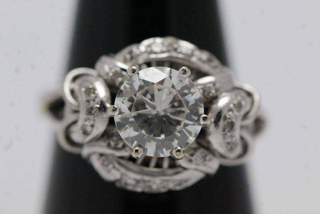 14K W/G art deco diamond ring, with GIA report - 2