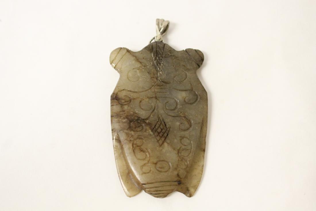 2 Chinese vintage celadon jade carved pendant - 3
