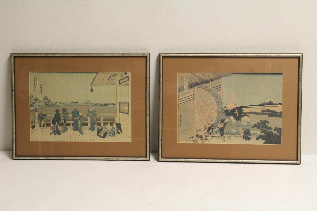 2 vintage Japanese w/b prints by Hokusai