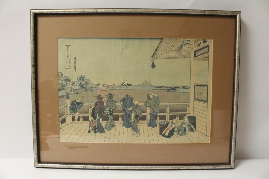 2 vintage Japanese w/b prints by Hokusai - 2
