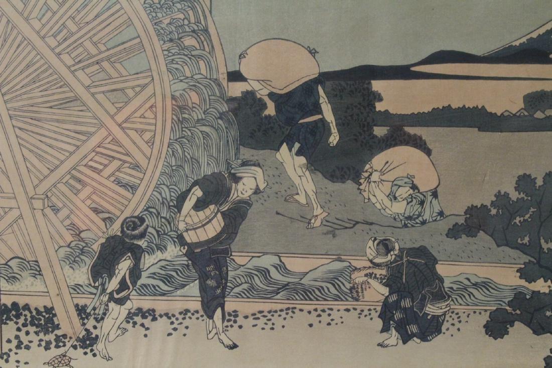 2 vintage Japanese w/b prints by Hokusai - 9
