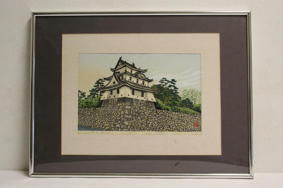 A framed Japanese woodblock print
