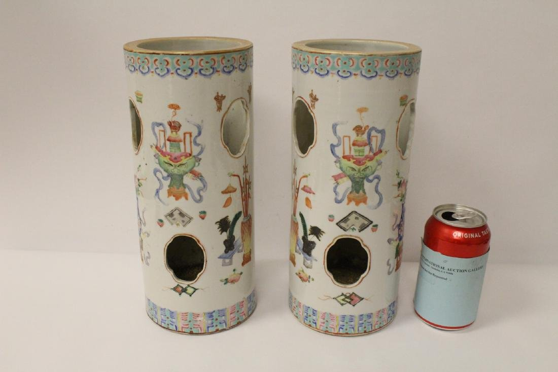 Pair Chinese 19th c. famille rose porcelain hat vases
