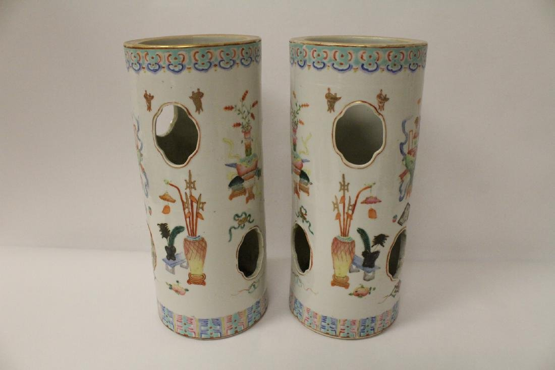 Pair Chinese 19th c. famille rose porcelain hat vases - 3