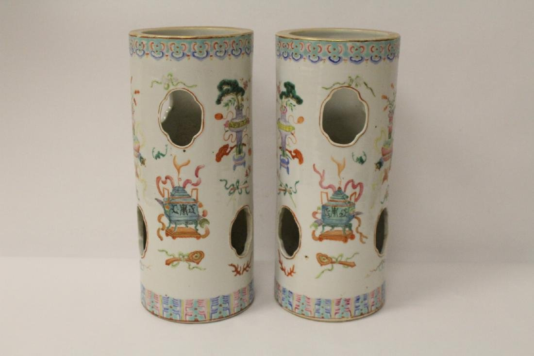 Pair Chinese 19th c. famille rose porcelain hat vases - 4
