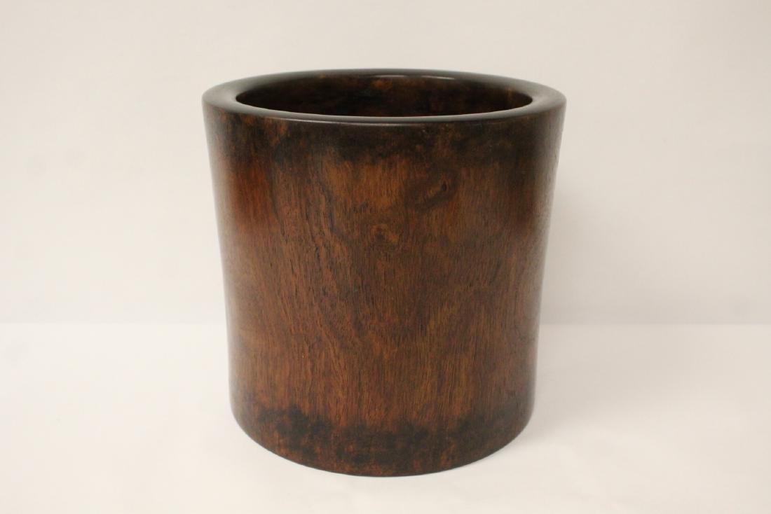 Large Chinese rosewood brush holder - 5