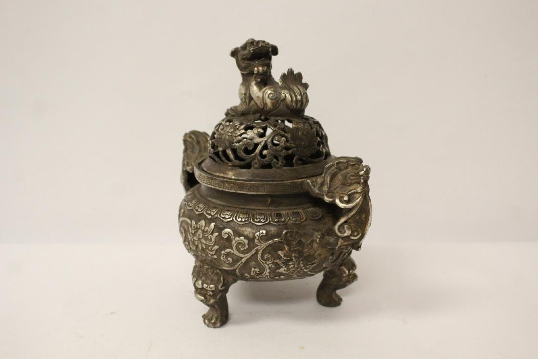 A fine Chinese silver on bronze censer - 2
