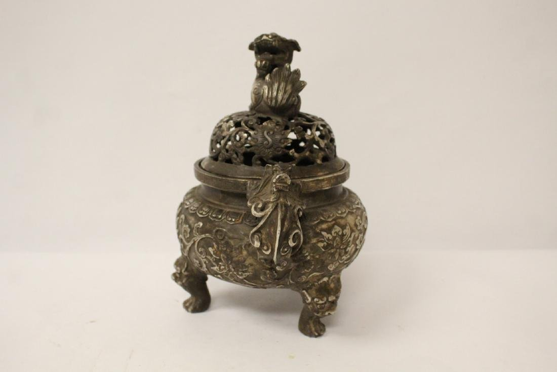 A fine Chinese silver on bronze censer - 3