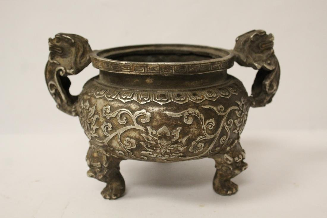A fine Chinese silver on bronze censer - 5