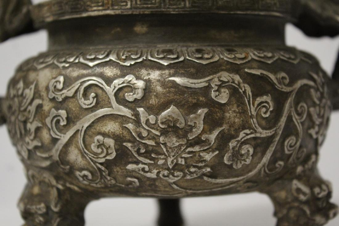 A fine Chinese silver on bronze censer - 6