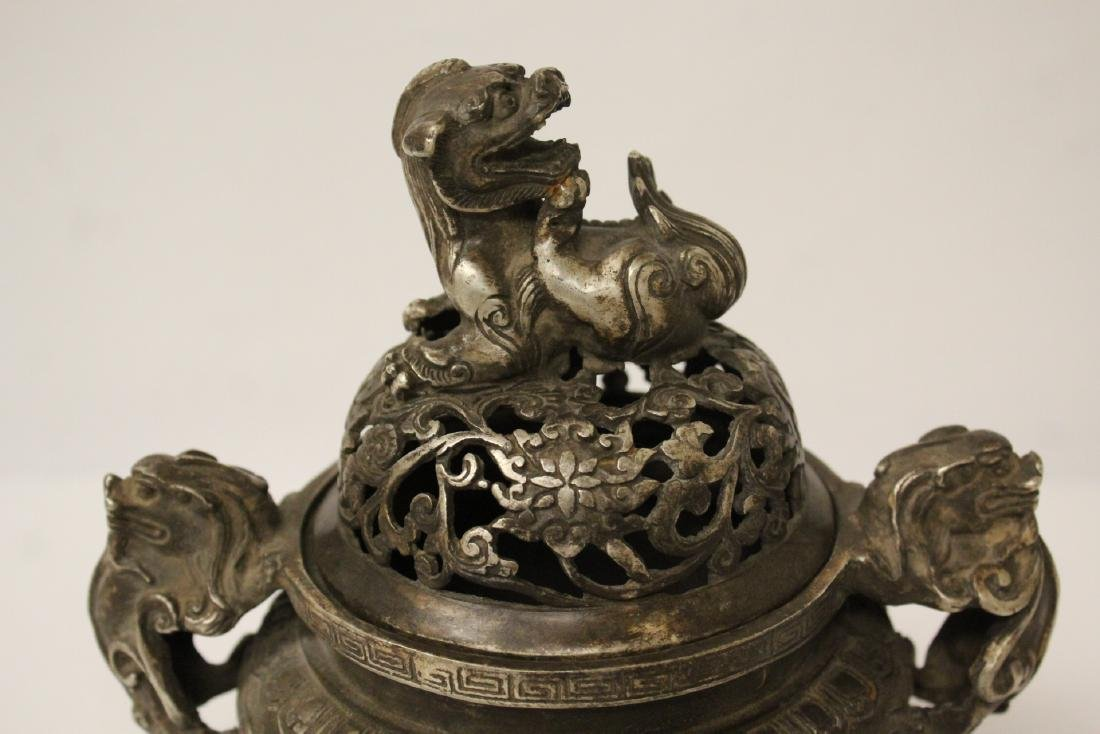 A fine Chinese silver on bronze censer - 8