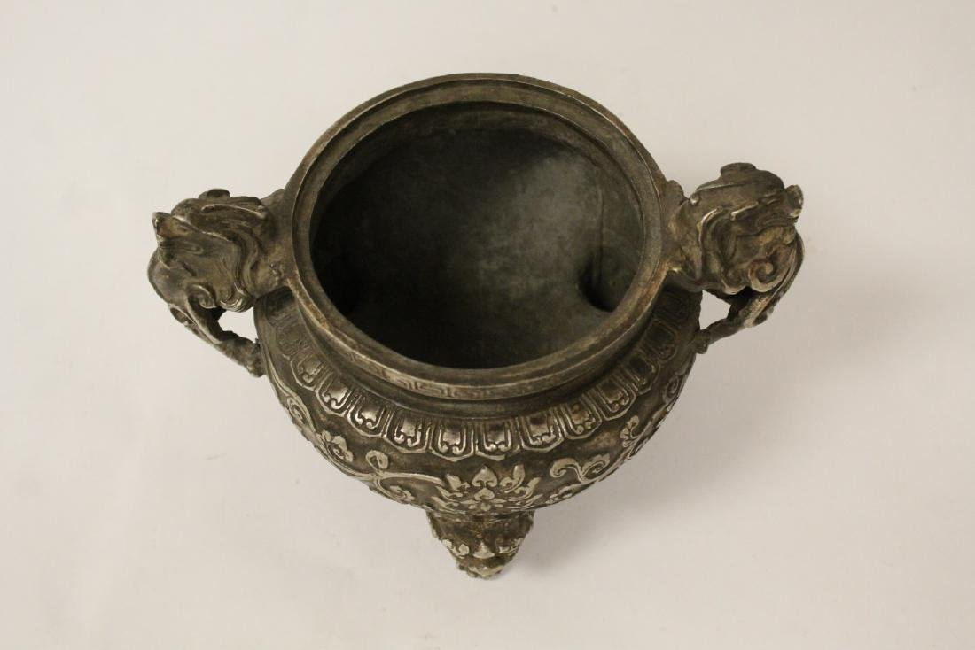 A fine Chinese silver on bronze censer - 9