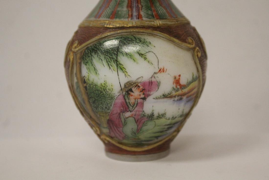 beautiful Chinese enamel on Peking glass vase - 2