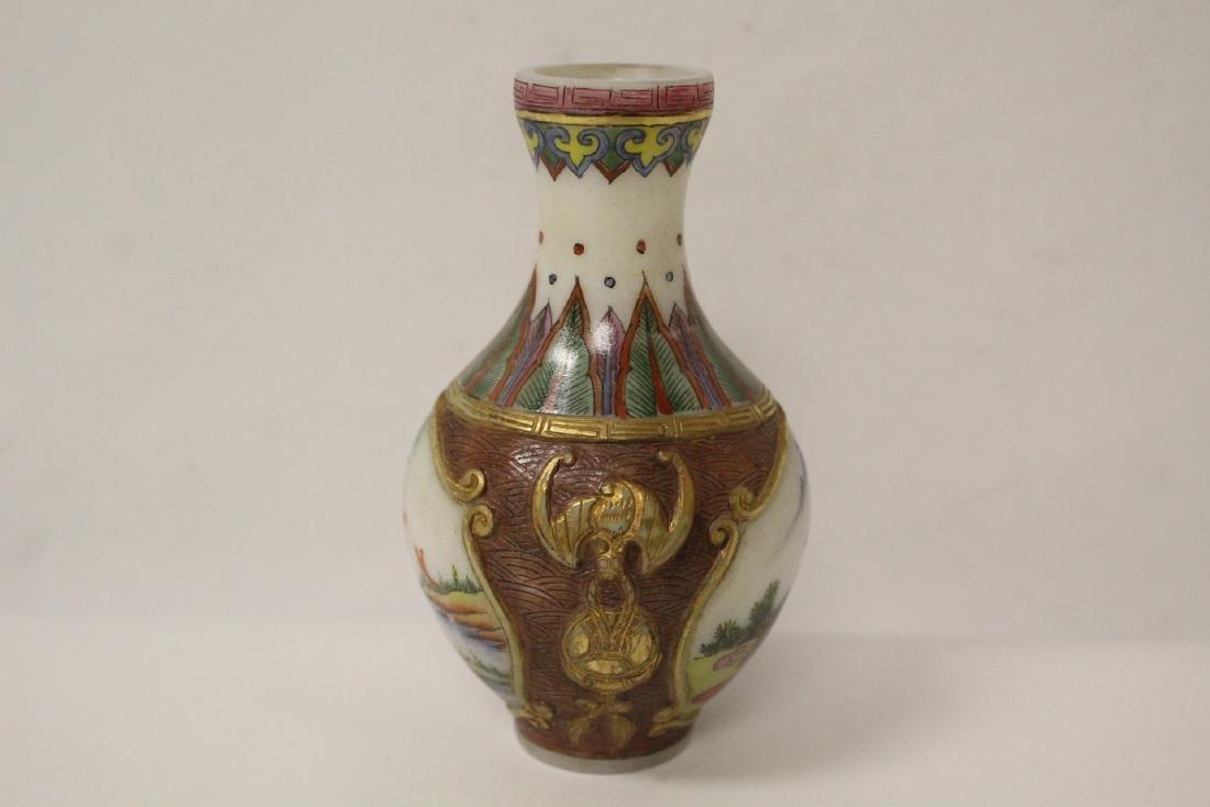 beautiful Chinese enamel on Peking glass vase - 4