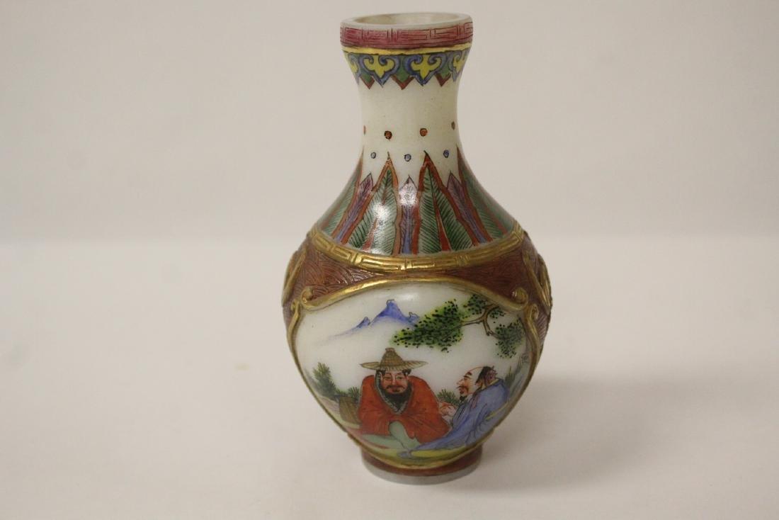 beautiful Chinese enamel on Peking glass vase - 6
