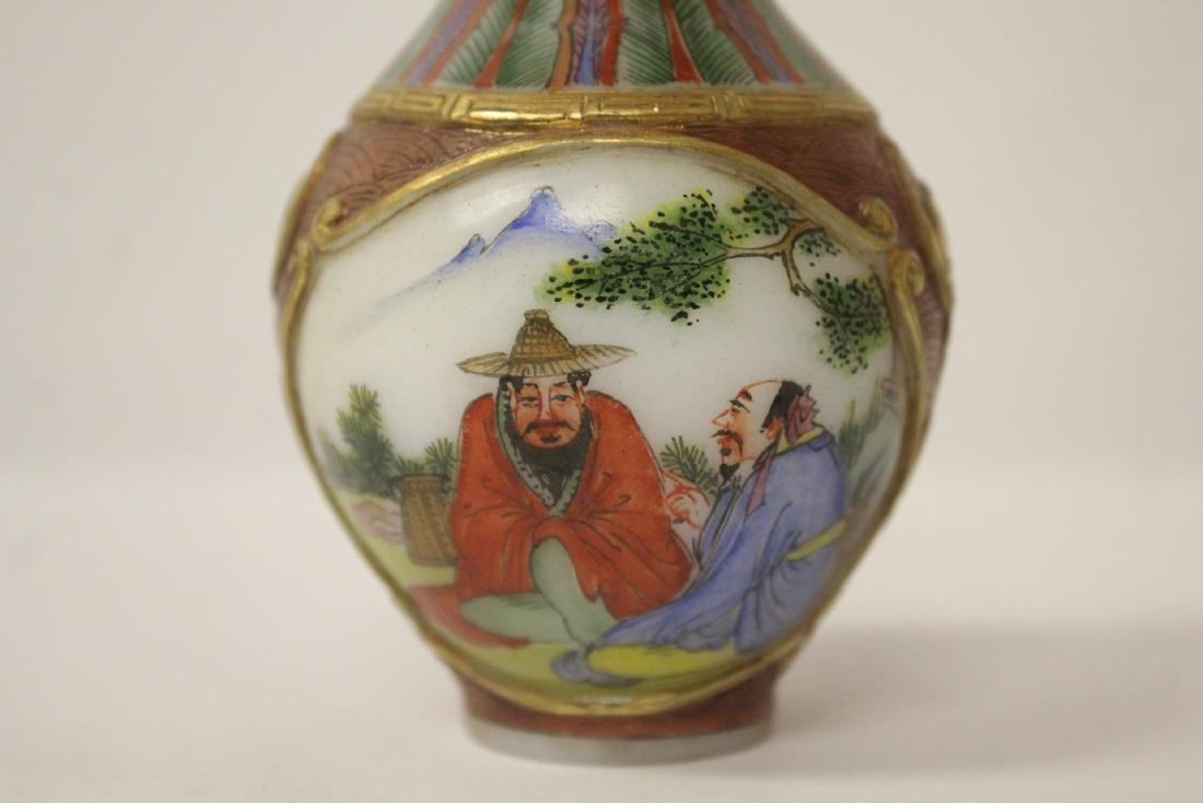 beautiful Chinese enamel on Peking glass vase - 7