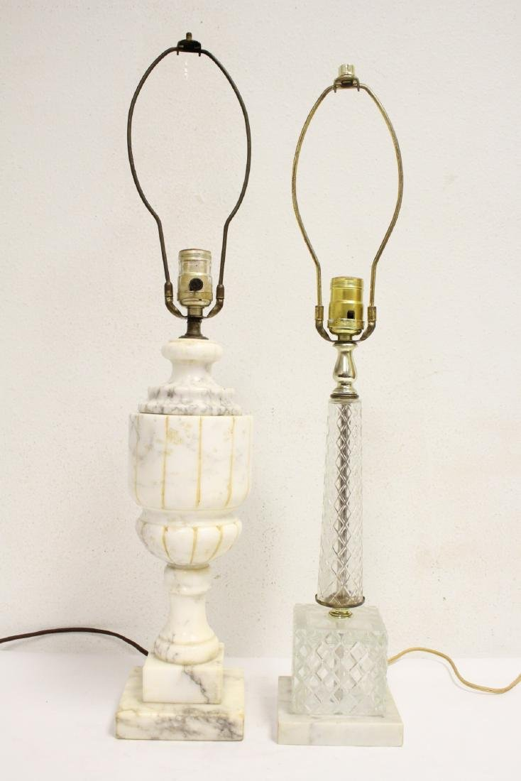 An alabaster lamp and a crystal lamp