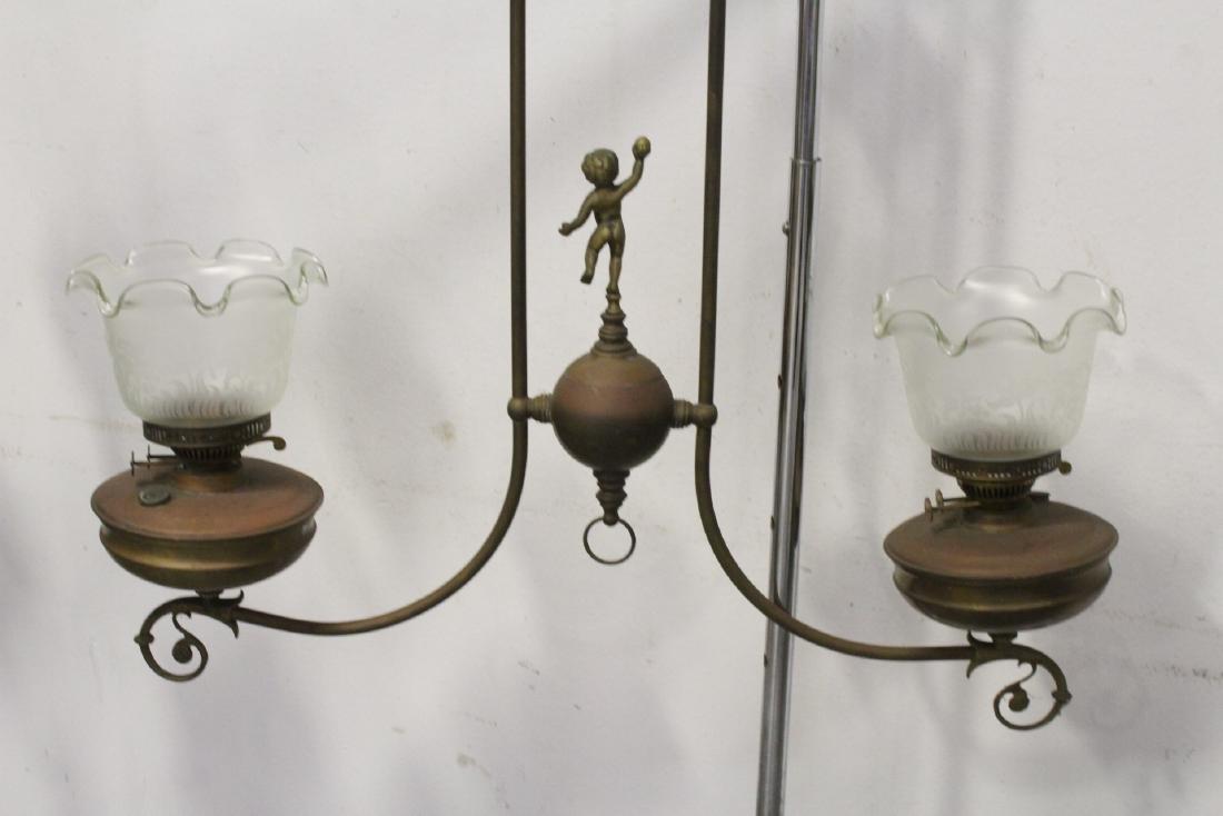 Vintage Victorian double gas light with cherub - 10