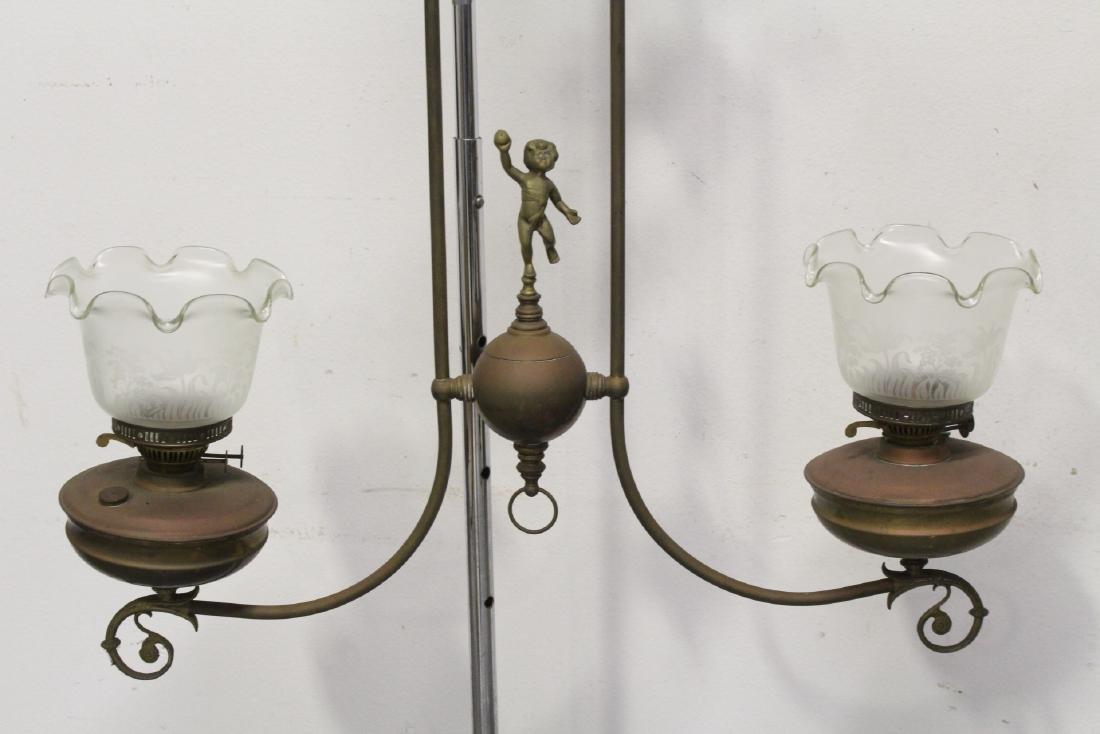 Vintage Victorian double gas light with cherub - 2