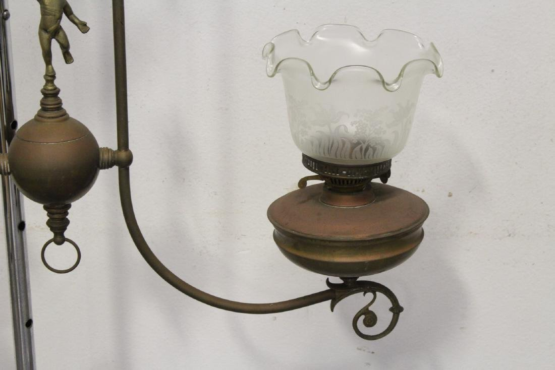 Vintage Victorian double gas light with cherub - 4