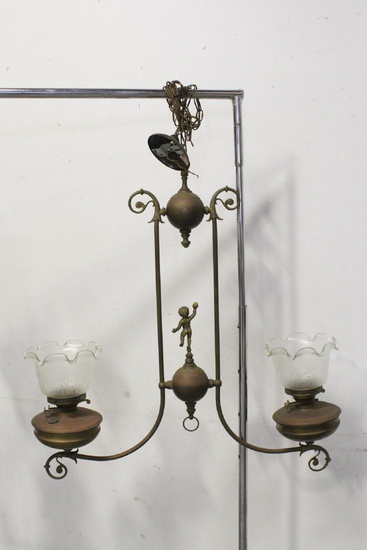 Vintage Victorian double gas light with cherub - 9