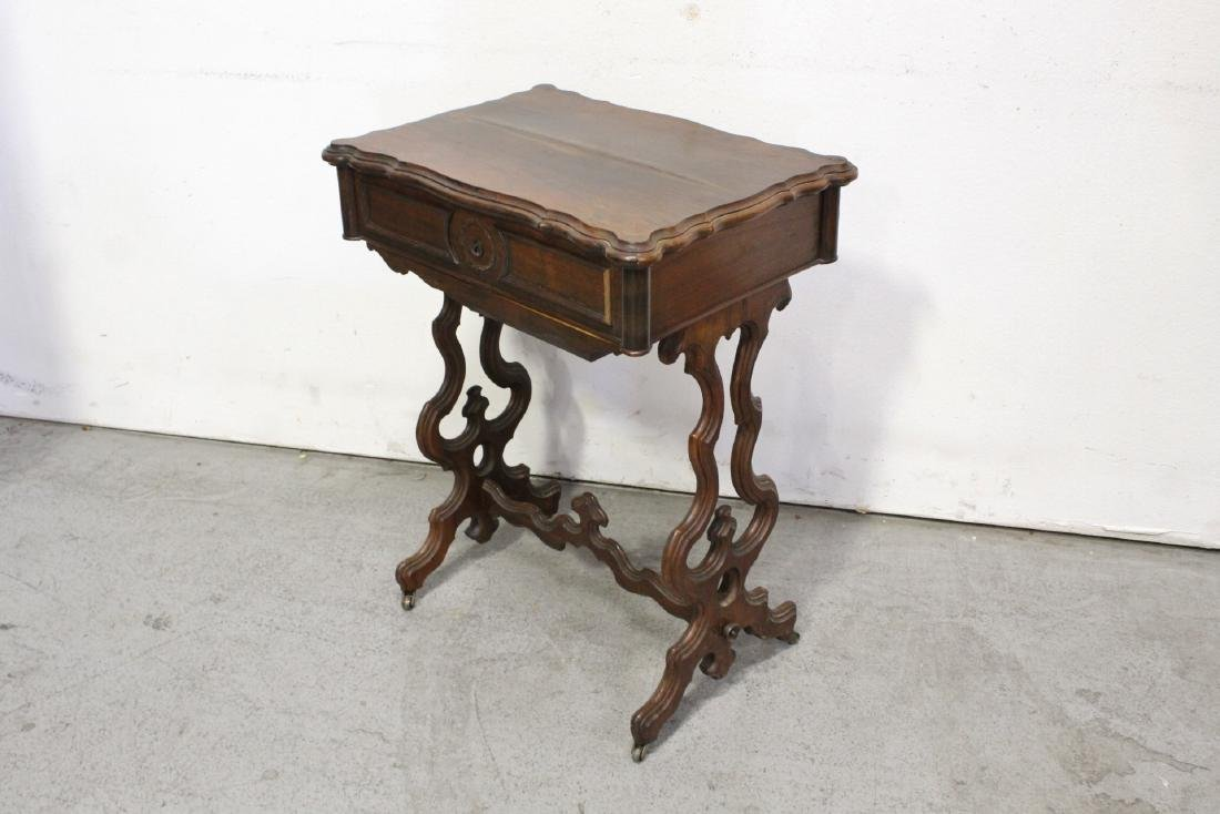A Beautiful Victorian walnut sewing stand - 3