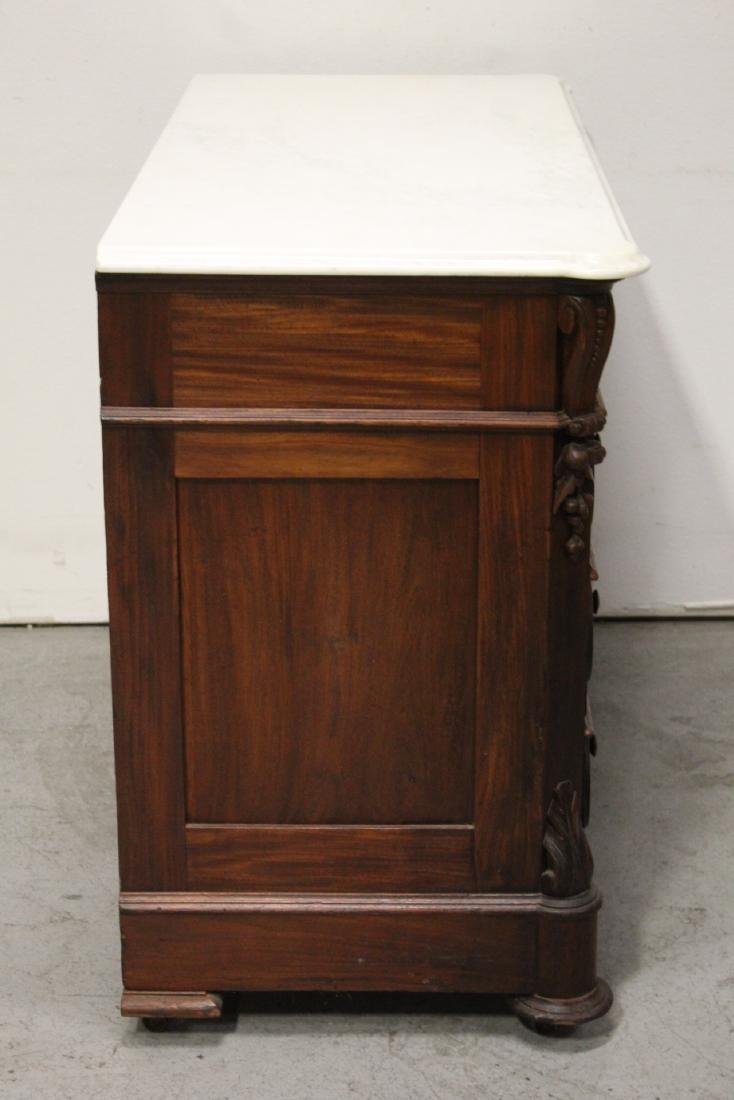 Victorian mahogany marble top chest of drawers - 8