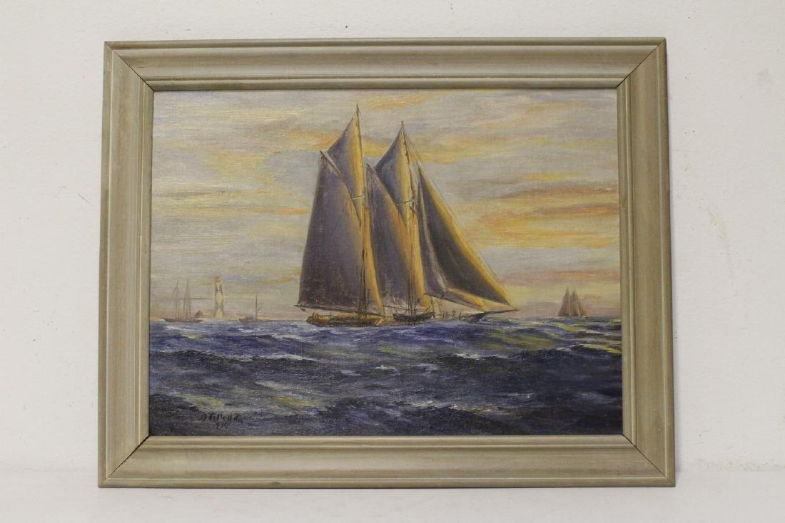 "O/b ""seascape with sail"""