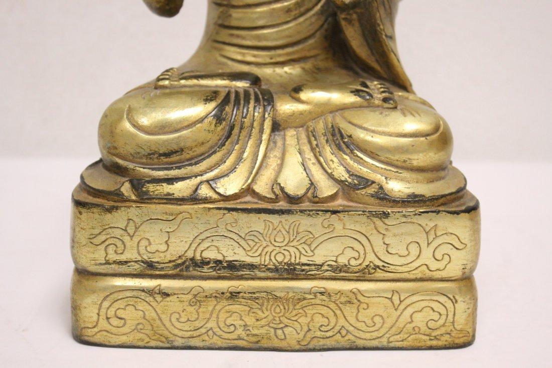A fine Chinese gilt bronze sculpture of deity - 7