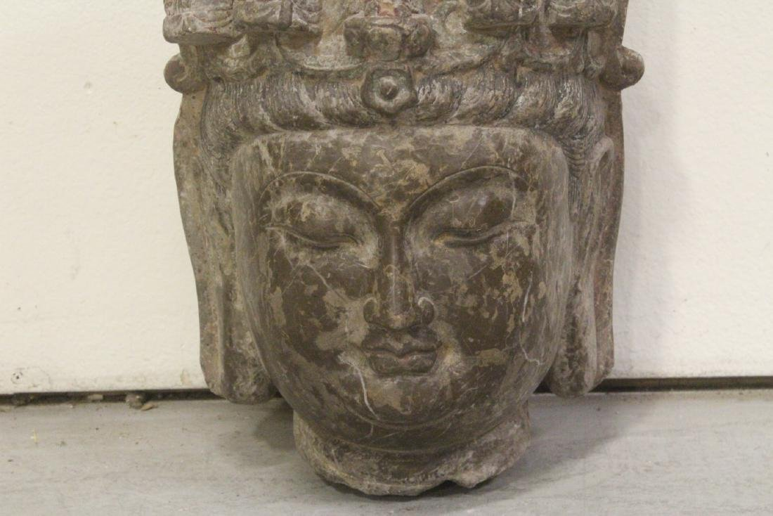 Chinese vintage stone carved Buddha head - 3