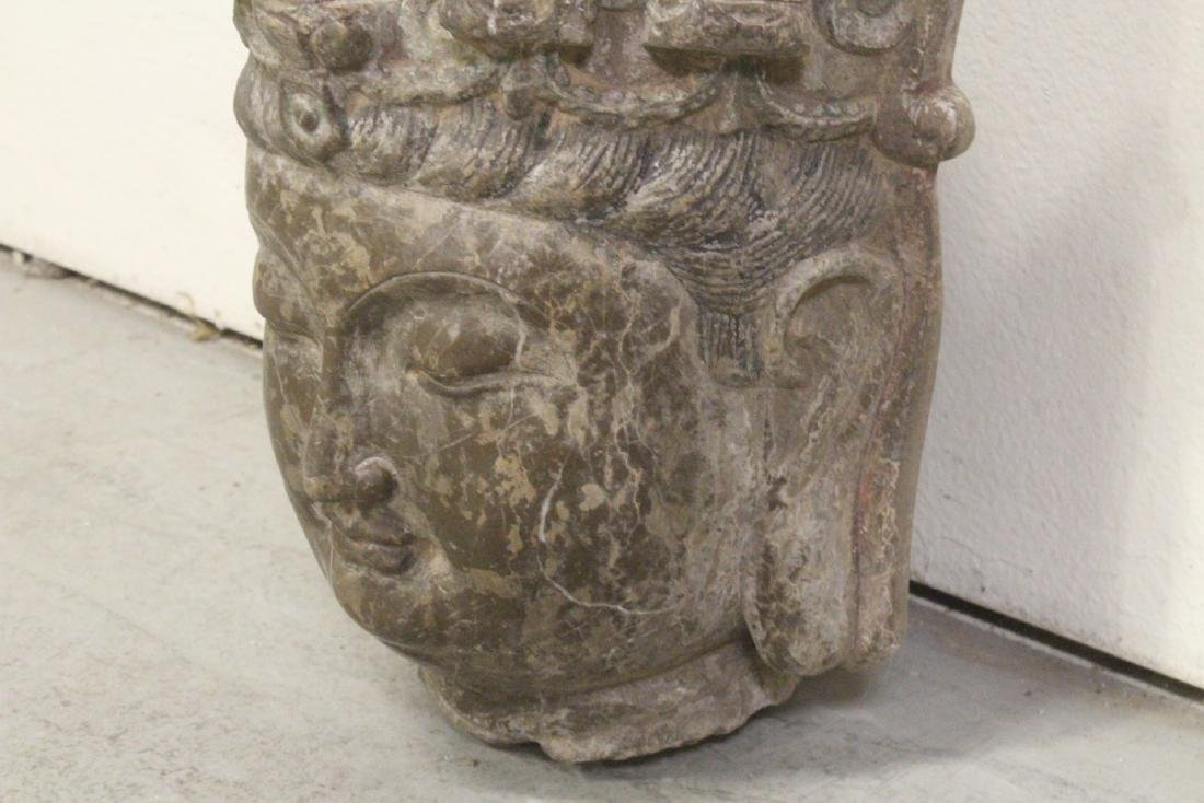 Chinese vintage stone carved Buddha head - 5