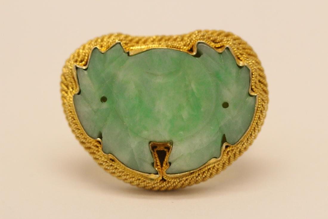 Chinese vintage gilt silver jadeite ring