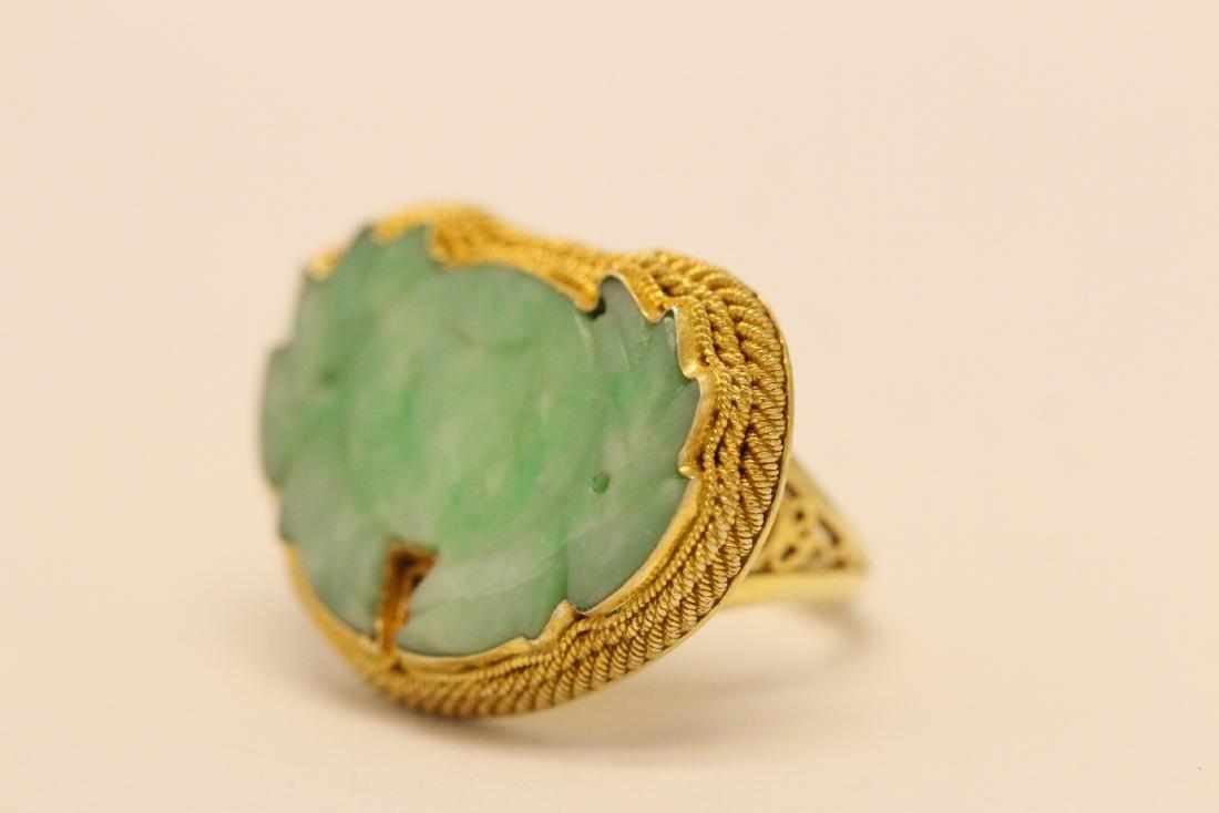 Chinese vintage gilt silver jadeite ring - 3