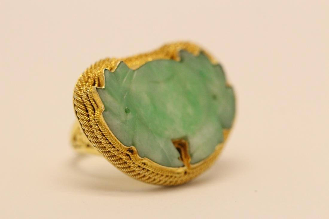 Chinese vintage gilt silver jadeite ring - 4