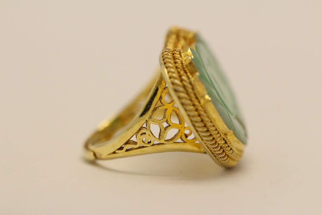 Chinese vintage gilt silver jadeite ring - 5