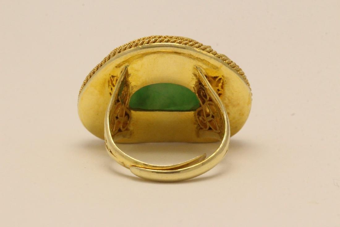 Chinese vintage gilt silver jadeite ring - 7