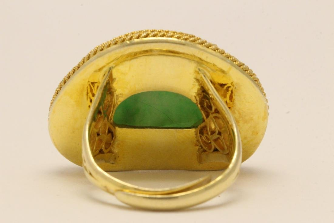 Chinese vintage gilt silver jadeite ring - 8