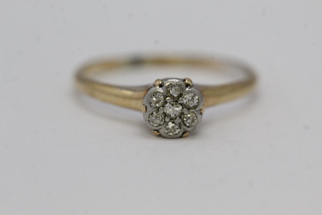 Victorian 14K Y/G diamond ring - 6