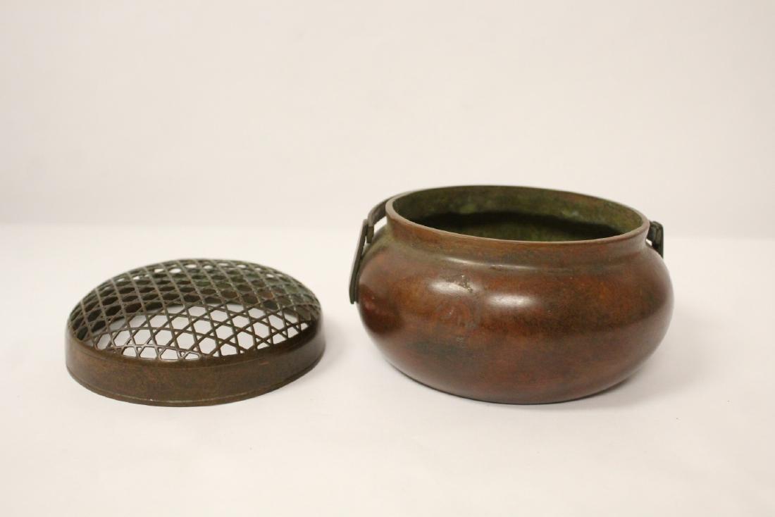 Chinese bronze hand censer - 4