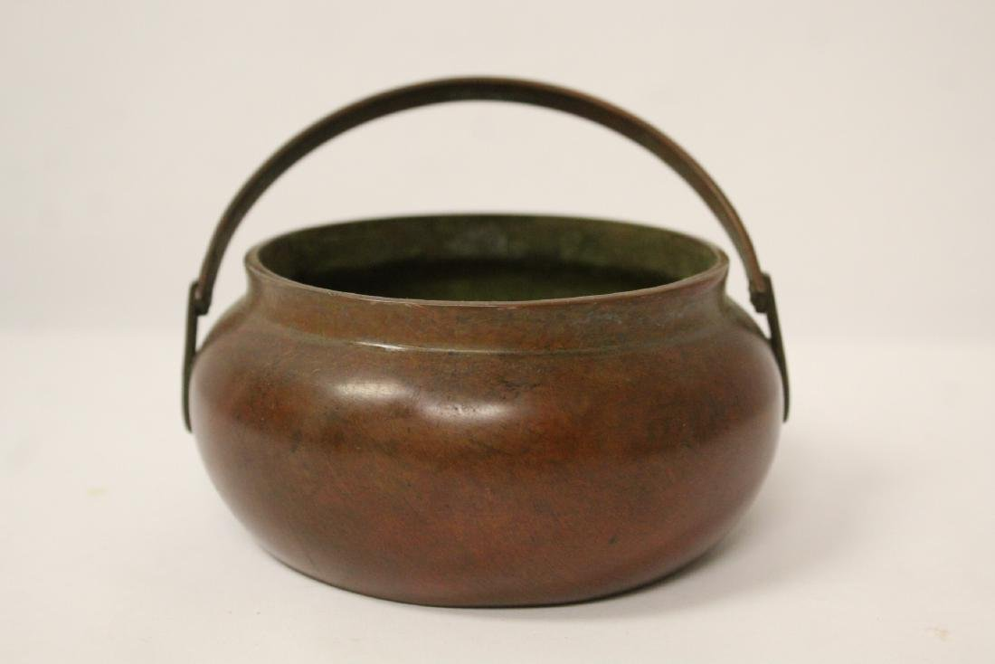 Chinese bronze hand censer - 5